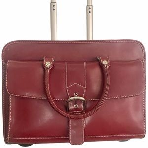 Franklin Covey Rolling Leather Laptop Briefcase